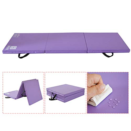 Modern-Depo Gymnastics Mat Tri-Fold 6'X2'X2 Thick with Handle, Waterproof Cover, 100% EPE Core (Purple)