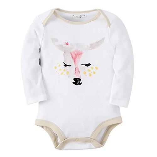 [Sanlutoz Baby Clothes Romper Baby Girl Bodysuit Newborn Onesie Rompers Long Sleeve (6-12m, R13 White Deer)] (Newborn Lion Costume 0-3 Months)