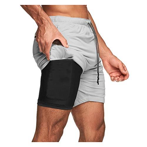 BUZHIDAO Korte hardloopbroek voor heren, 2-in-1 shorts, hardloopshorts, sneldrogend, ademend, compressieshorts, dual…