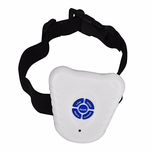 Homily Small Pet Dog 2 Modes Ultrasonic Anti Barking Training Shock Control Collar waterproof easy (Size M) , White
