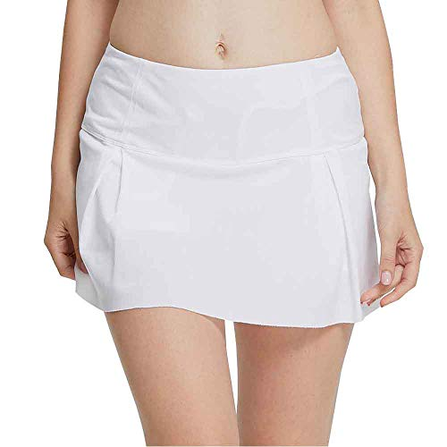 Women's Active Athletic Pleated Skort with Pocket Casual Lightweight Skirt with Inner Shorts for Running Tennis Golf Workout White Tag XL-US M -