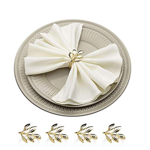 (HSCC666 Napkin Rings Set of 4 - Gold Napkins Holder Rings Ideal Table Decoration fo Wedding Banquet Daily Dinner Party Decor Favor)