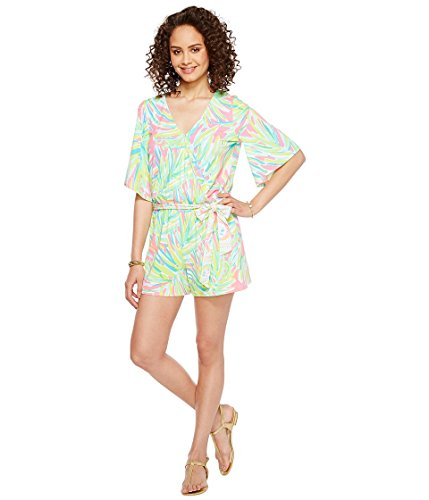 Green Lilly (Lilly Pulitzer Women's Madilyn Romper Tiki Pink Royal Lime Engineered Jumpsuit)