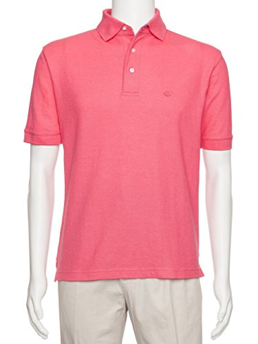 AKA Men's Solid Polo Shirt Classic Fit - Pique Chambray Collar Comfortable Quality Coral 4X
