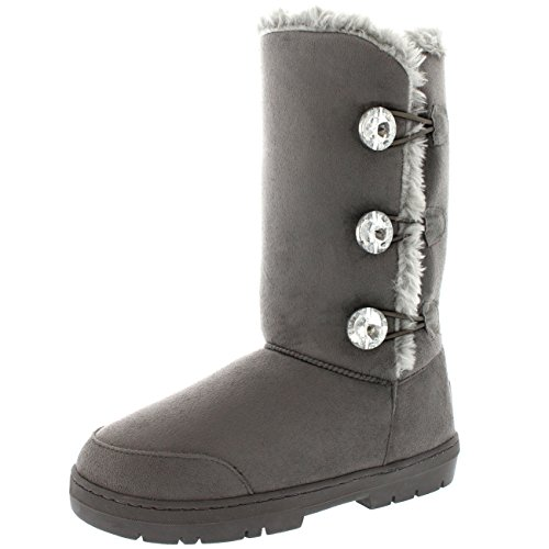 Botas Gris Invierno Rain Impermeable Button Mujer Triplet Tall Fur Diamond Nieve qw46vz
