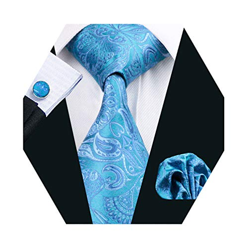 Barry.Wang Blue Tie Pocket Squre Cufflinks Mens Paisley Silk Tie Set