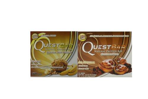 Quête Nutrition - 2 articles: Banana Nut Muffin (12 Bars) & Cinnamon Roll (12 bars)