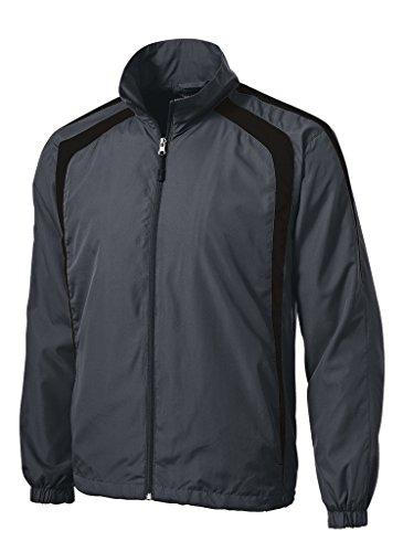 Joe's USA Mens Lightweight Full-Zip Wind Jacket-Graphite/Black-2XL