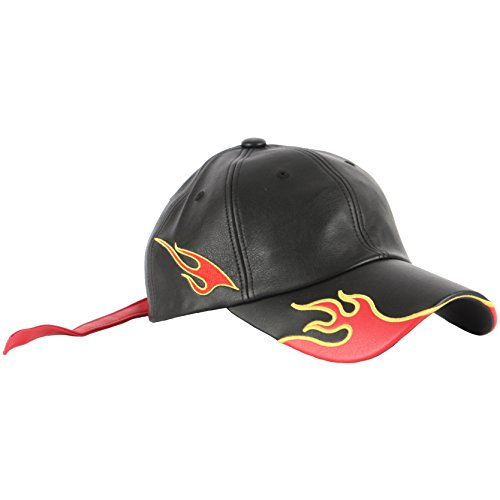 RaOn B210 Flame Effect Red Leather Long Strap Racing Biker Cap Baseball Hat Truckers (Black)