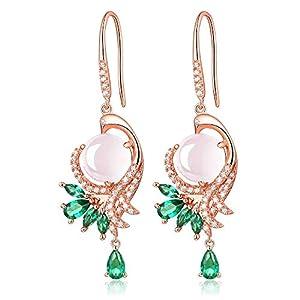 HXZZ Fine Jewelry Women Gifts Sterling Silver Natural Gemstone Amethyst and Rose Quartz Drop Dangle Hook Earrings…