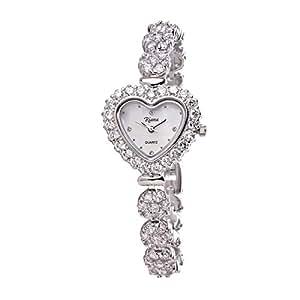 Riana Ladies Luxury CZ Crystal Heart Watch Silver Tone Bracelet Reloj de Damas-RCW06