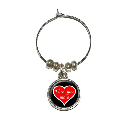 I Love You More Red Heart Wine Glass Charm Drink Stem Marker Ring