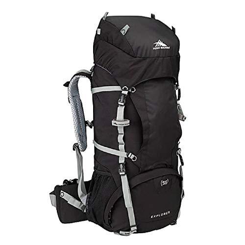 High Sierra Explorer 55L Internal Frame Backpack, Top Load 55 Liter Hiking Backpack, Black/Black/Silver