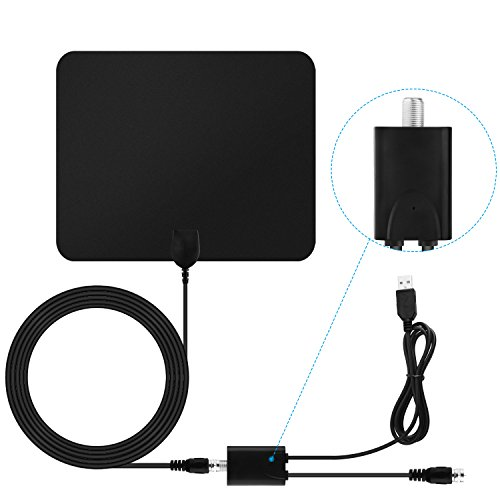 Blimark TV Antenna HD Digital Indoor Amplifier Signal Booster HdTV Antenna 50 Mile Range 1080P Ultra Thin Coaxial Cable Micro Receiver Leaf for TV
