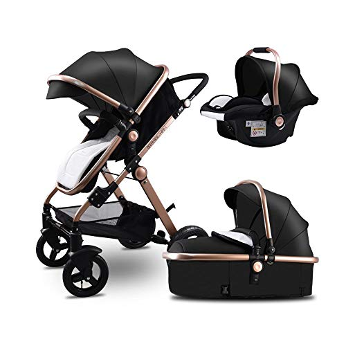 Baby Stroller,Babyfond-JTBS,T900 Folding Pushchair,Lightweight Sleeping Bassinet,Hand-held Safe Seat for 0-3 Year Old Newborn (Black)