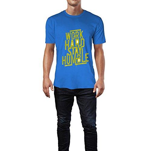 SINUS ART® Aufschrift Work Hard Stay Humble Herren T-Shirts in Blau Fun Shirt mit tollen Aufdruck