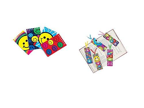 4 Dozen (48) SMILEY FACE Party FAVORS- 24 Mini Spiral NOTEBOOKS & 24 BOOKMARKS - SMILE Emoticon Emoji Classroom TEACHER (Smiley Face Party)