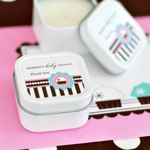 Personalized Square Candle Tins - Cupcake Party - Total 96 items by Eventblossom