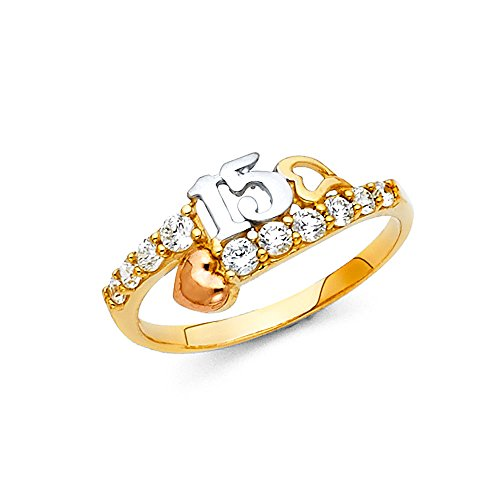 FB Jewels 14K Yellow White and Rose Three Color Gold Cubic Zirconia CZ Fifteen 15 Year Birthday Quincea/ñera Fashion Anniversary Ring