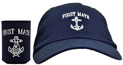 ThisWear Funny Sailing First Mate Hat Embroidered Cap and Funny Beer Can Coolie Gift Set Bundle