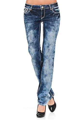 VIRGIN ONLY Women's Slim Fit Straight Leg Washed Denim Je...