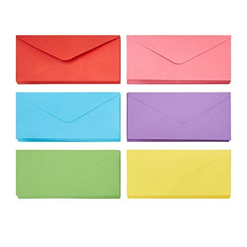 Business Envelopes - 120-Pack #10 Envelopes, Standard V-Flap Envelopes for Holiday, Office, Checks, Invoices, Letters, Mailings, Windowless Design, Gummed Seal, 6 Assorted Colors, 4-1/8 x 9-1/2 Inches (Assorted 10 Envelopes Colored)