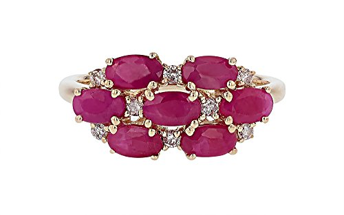 IGL Certified 14K Yellow Gold Ruby Ring with Diamonds (0.15cttw)-Size 6.5 ()