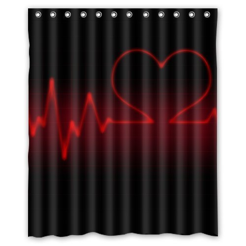 tbeat Love Heart Red and Black Beautiful Shower Curtain Waterproof Bathroom Decor Polyester Fabric Curtain Sets with Hooks ()