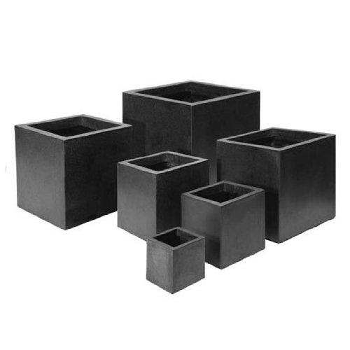 Grandelight Terrazzo Pflanzgefäß bzw. Raumteiler, eckig, schwarz ...