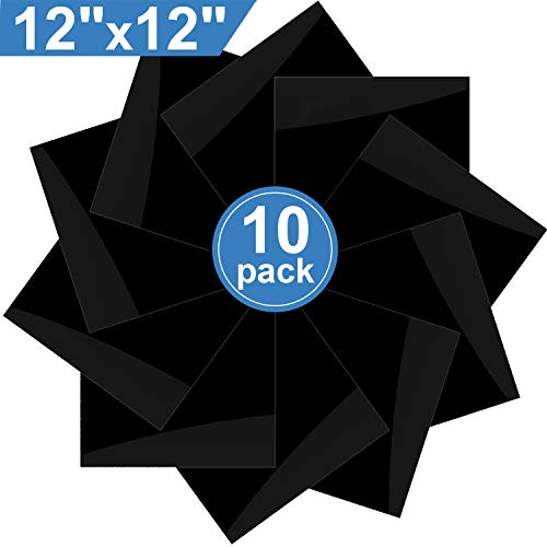 XPCARE Heat Transfer Vinyl HTV - 10 Pack - 12 x 12 Sheets Iron On T-Shirts(Black)