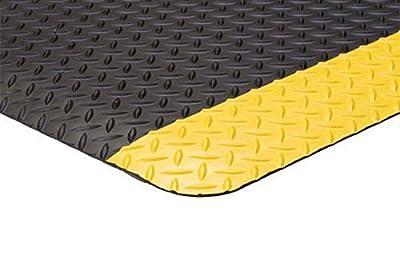 "Supreme Diamond Safety Fatigue, 3' x 5', Black with Yellow Sides, 11/16"""