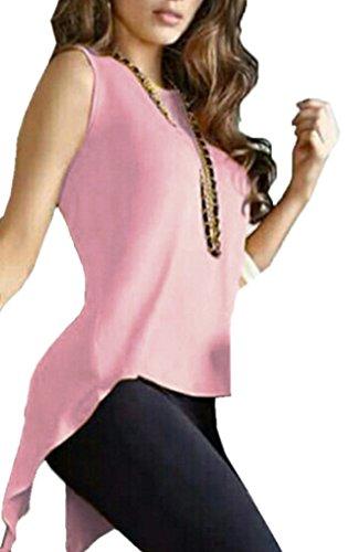 Femme Chemisiers Blouse Fendues Rond Manches Tops Sweat Shirts sans Et Unie Arrire Topsone Shirts Irregulier Haut Rose Col Tunique Casual Couleur Shirts T 4qpUYxw5