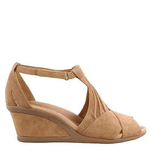 Earth Women's, Curvet Wedge Heel Sandals Biscuit 7 W