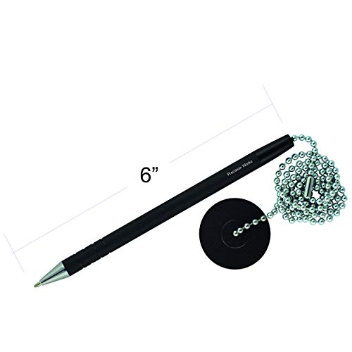 Secure Counter Pen With Adhesive Base & Metal Chain - Black Ink - Medium Point (10 Pack) by Precision Works (Image #1)