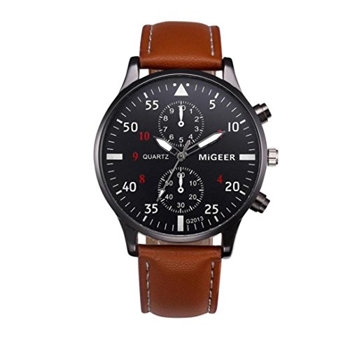 Snowfoller Men's Analog Display Automatic Black Watch Stainless Steel Dial Casual Watch Fashion Analog Quartz Wrist Watch Dress Leather Band (Brown)