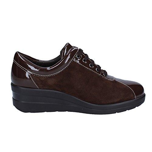 Camoscio Donna Marrone Soft Sneakers Cinzia vernice qt1R8