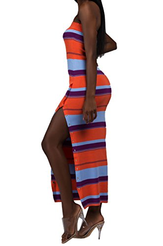 AKIRA Women's Sherbet Stripes Ribbed Thick Knit Snap Side Ribbed Bodycon Maxi Tube Dress-Orange Multi_M/L