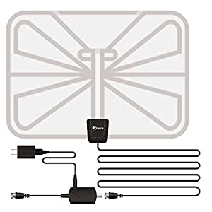 TV Antenna,Kiteca Ultra Thin Indoor HDTV Antenna with Built-in Amplifier Signal Booster for the High Performance and 50 Miles Range and 16.4 Feet Coaxial Cable-Transparent