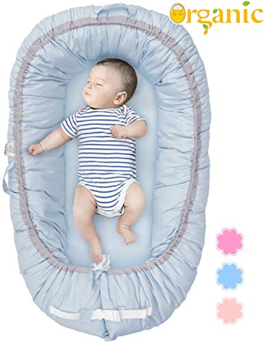 Organic Newborn Lounger   Baby Snuggle Nest   Portable Bed for Infants & Toddlers 0-24 Month   Blue, Pink, Beige Colors for Girls and Boys   Use as Bassinet, Play - Bed Of Babies