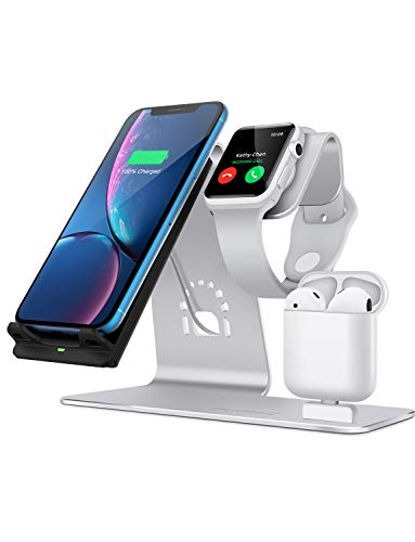 Bestand 3 in 1 Aluminum Wireless Charging Stand for Apple iWatch, Charging Station for Airpods, Qi Fast Wireless Charger Dock for Apple iWatch/iPhone X/8 Plus/8, Samsung S8 and Other Qi-Enabled Device
