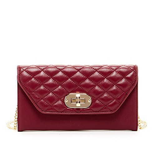 SUSU Leather Crossbody Wallet For Women Clutch Purse With Chain Strap Quilted Lambskin Pouches Cute Money Bag Burgundy Bags For Phone Designer Handbags Clasp Flap iPhone 6 Plus Envelope Small Purses