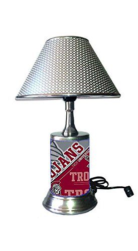 JS Table Lamp with Chrome Colored Shade, Troy Trojans Plate Rolled in on The lamp Base