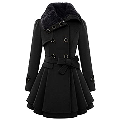 Lemosery Women's Stylish Lapel Faux Fur Collar Wool Blend Long Sleeve Trench Coat Dress Coat: Clothing