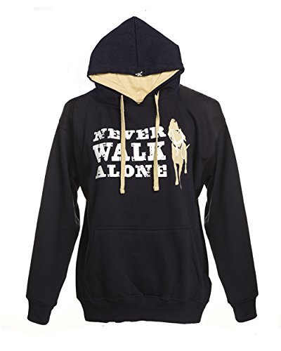Dog is Good Unisex Never Walk Alone Hoodie (Navy Blue, Small)