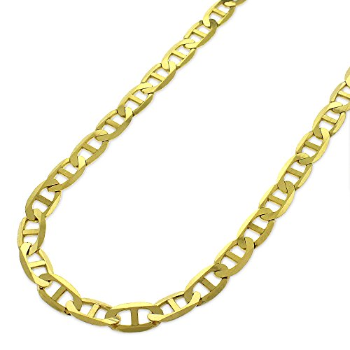 10K Yellow Gold 5mm Solid Mariner Anchor Link - Heavy-Duty - Flat Necklace Chain 16
