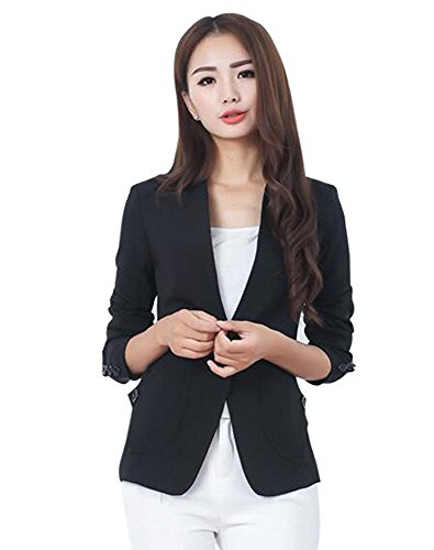 Women Long Sleeve Slim Suit Jacket Coat Black - 6