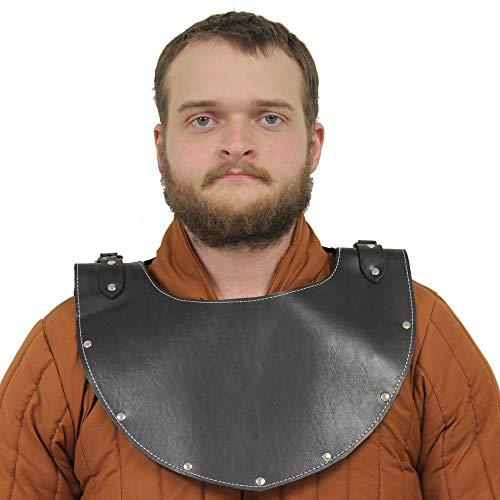 Medieval Templar Knight Marius Crusader Leather Gorget Neck Armor Black