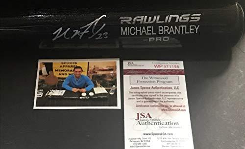 Michael Brantley Houston Astros Autographed Signed Black Baseball Bat JSA WITNESS COA