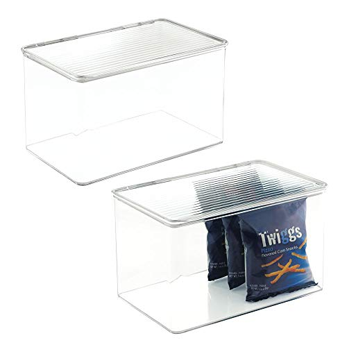 mDesign Plastic Stackable Food Storage Container Bin with Hinged Lid - for Kitchen, Pantry, Cabinet, Fridge/Freezer - Deep Organizer Box for Snacks, Produce, Pasta - BPA Free, 2 Pack - ()