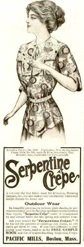 1910 PACIFIC MILLS AD FOR SERPENTINE CREPE LADIES' WEAR Original Paper Ephemera Authentic Vintage Print Magazine Ad / Article
